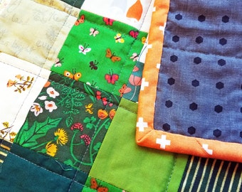 Shades of Green Patchwork Baby Quilt - Perfect Shower Gift!