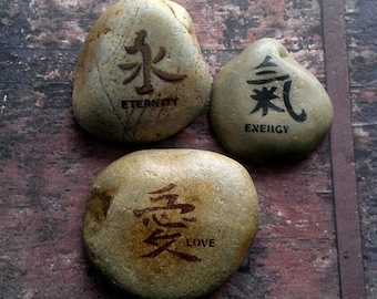 Asian inspired garden stones home decor paperweight set of 3