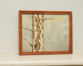 Original Painting Watercolor Birch Tree
