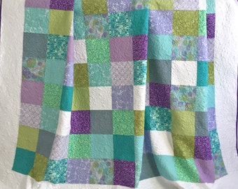 King Patchwork Quilt with Floral Fabrics Shades of Aqua Purple Green Ivory Piccadilly Collection