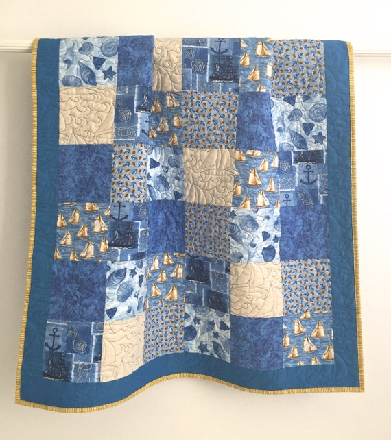 Nautical Themed Patchwork Baby Boy Quilt Shades Of Blue Ivory