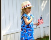 Little Girls peasant dress - Patriotic owl dress - red white blue dress - Young girls modest dress - girl's fashion - kids clothes - size 4