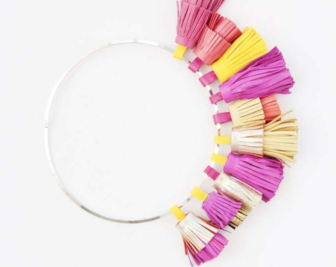 SALE/ WILD ONES 3 / Leather tassel necklace-pink yellow orange -summer necklace-tassel jewelry-leather jewelry-statement- Ready to Ship