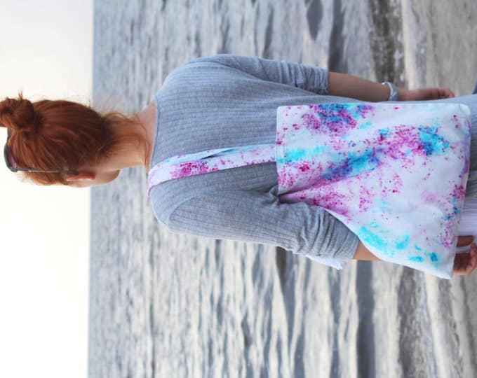 Cotton tote bag-shopping bag-carry all tote-hand colored tote bag-splashes tote purse-blue pink - ready to ship-one of a kind/ SIMPLE TOTE 7