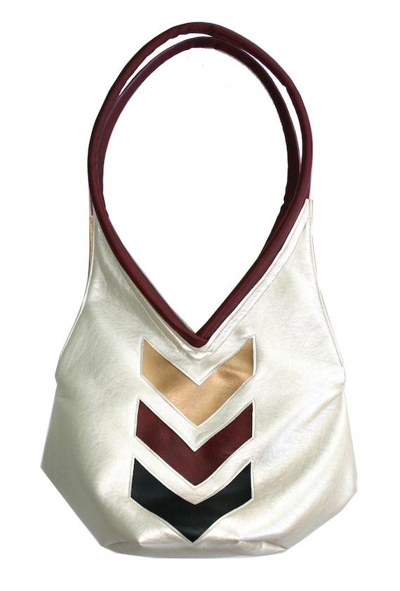 pearlized vinyl, red, chevron, metallic, sparkle vinyl, tear drop, vegan leather, shoulder bag