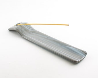 Incense Burner, Incense Stick Holder, Meditation Tools, Zen Home Decor, Gray and White Room Decor, Fused Glass, Gifts for Meditators