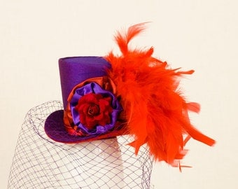 Purple and Red Mini Top Hat,Alice in wonderlad, mad hatter hat,fascinator,bachelorette party,Burlesque hat,Gothic,Steampunk hat,Showgirl