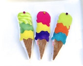 Triple Scoop Sorbet Cat Toy, Shave Ice, Organic Catnip, Giant Sized Cat Toy, Ice Cream Cone, Hug Toy for Cat