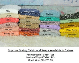 "SALE 30""x20"" POPCORN stretch Newborn Wraps, newborn photography, 20 colors, NEW popular wrap"