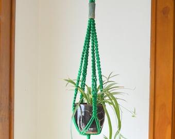 Green Matter Macramé Hanging Planter Handmade Ceramic Bead