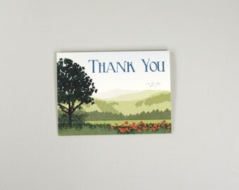Carmel Valley with Poppies Wedding Thank You Folded Card // A2 Broadfold Thank You card with Envelope