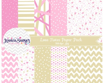 INSTANT DOWNLOAD, valentines day digital paper or pink and gold backgrounds for commercial use or personal use
