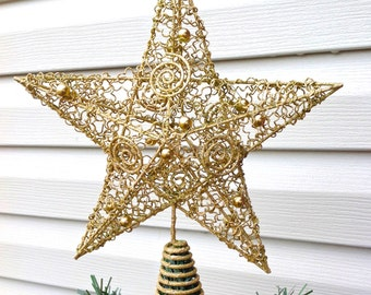 Large Metallic Gold Wire Star Christmas Tree Topper / Christmas Holiday Decor