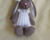 CUSTOM ORDER for STEPHANIE Brown Rabbit with white dress & bow on ear. suitable from birth. Hand Knitted.