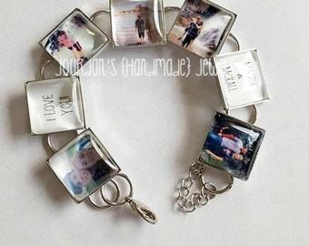Custom Photo Bracelet, Picture Bracelet, Charm Photo Bracelet, Couples Bracelet, Bridal Shower Gift, Gift for Bride, Gift for Mom, Love