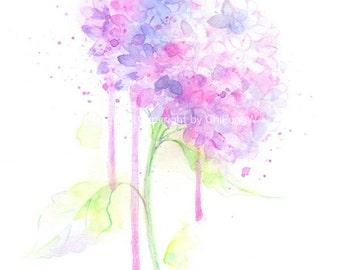 Fine art watercolor color pencil painting, flower art, purple Hydrangea WATERCOLOR PRINT, giclee print, flower interest