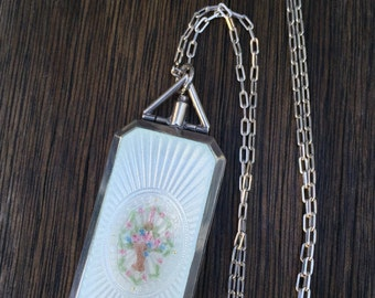 Exquisite Large Vintage Guilloche Enamel Locket Necklace, Flower Basket, Foster and Bailey