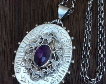 Exquisite Antique Victorian Sterling Silver Amethyst Locket Necklace