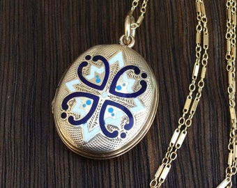 Antique 9 Carat Back and Front Enamel Locket Necklace, Blue, White and Turquoise Enamel