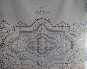 Stunning, Antique French, Window Panel, Applique  with cut work and net. Unused .