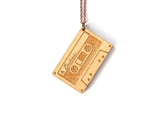 Custom audio tape pendant - customized audiotape necklace - vintage name jewelry - made on order - lasercut maple wood - engraved pendant