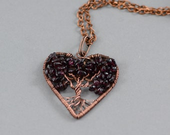 Heart Tree-Of-Life Pendant Heart Copper Wire Wrapped Pendant Wired Copper Jewelry Wire Wrapped Necklace Garnet Bead Rustic Necklace Unisex
