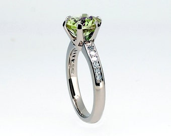 2.00ct, Peridot ring, Green, Diamond, engagement ring, white gold, peridot engagement ring, solitaire, vintage style, micro pave
