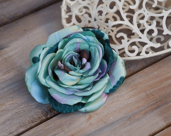 Vintage Style Flower, Satin Flower Hair Clip, Bridesmaid Brooch, Bridesmaid Headpiece, Mint Green Hair Flower, Green Bridal Fascinator