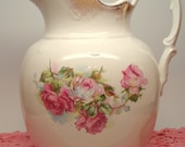 Vintage Pitcher Pink Rose Warranted Sydney Porcelain Water Pitcher Shabby Cottage Chic