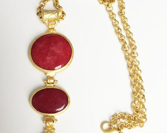 handmade, gold plated chain, chain, semi-precious stone, 22k, gold