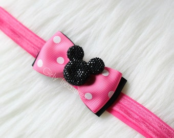 Hot Pink Mouse Bow Headband. Baby Mouse Headband. Polka Dots Headband. Baby Headband. Infant Headband. Girl Headband. Hot Pink Headband.