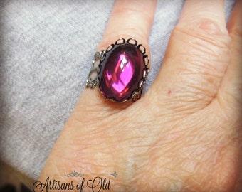 Selective Ring Sale, Gothic Amethyst Ring, Swarovski Glass Gunmetal Ring
