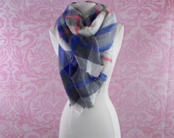 blue and grey blanket scarf/plaid scarf/tartan scarf