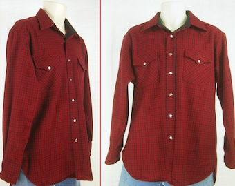Vintage 60s-70s Red & Black Check Wool ~PENDLETON~ High Grade Western Shirt  M