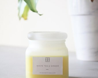 Three Silent Trees   White tea & ginger soy candle   frosted square jar