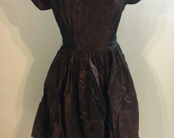 Stunning brown and gold 1950s stripe taffeta dress