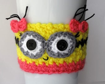 Minion Girl Crocheted Coffee Cup Cozy