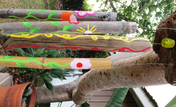 Flower Themed Driftwood Wind Chime with Bright Pink, Orange, Red, and Whites (Made to Order), Painted wood, Outdoor decor