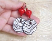 Red Zebra earrings, Tribal Zebra Jewellery, Rustic jewelry, Ooak, Round pendant, Rustic drop earrings, Handmade ceramic charm