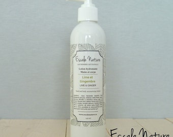 Moisturizing lime and ginger lotion for hand and body, 100% natural and handmade, 240 mL