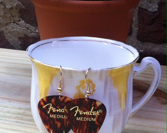tortoiseshell Fender guitar pick earrings with leaves