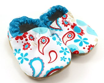 paisley baby shoes, flower booties, red and blue shoes, baby girl shoes, baby girl booties, paisley clothing, baby shower gift, blue flowers
