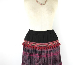 hmong skirt, hill tribe skirt, ethnic skirt, boho skirt, upcycled skirt, summer skirt, ooak