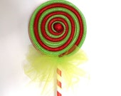 Fake Lollipop Whimsical Decoration Green and Red Lollipop Wand Costume Accessory