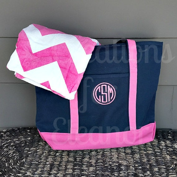 monogrammed beach towel and tote bag by creationsforeleanor