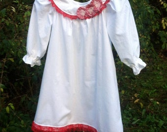 Girls cotton gown- white with red lace