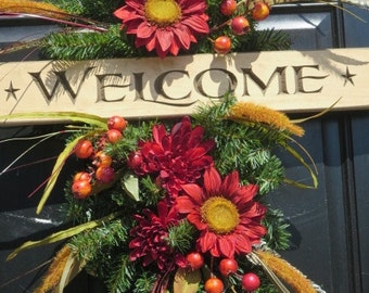 Fall Door Swag Wreath, Welcome Wreath, Fall Door Wreaths, Autumn Wreaths, Fall Front Door Wreaths, Door Wreaths, Thanksgiving Wreaths