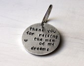 Mother of the Groom Gift, Thank You For Raising The Man Of My Dreams, Mother In Law Keychain, Wedding Keepsake, Father of the Groom, Thanks