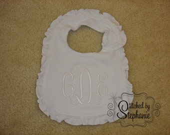 Custom embroidered personalized monogrammed 3 initial monogram white on white name ruffle baby bib