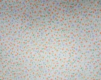 Lime Green, Orange, Yellow Mini Flowers Cotton Line Pique